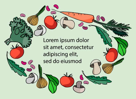 Circular vegetable frame. Hand drawn vegetables and greens isolated on white background. Healthy, carb-rich and vegan foods concept. Gardening concept