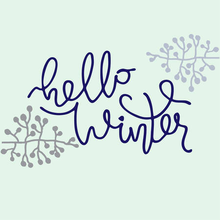 Hello Winter vector illustration. Hand lettering decorated with naked branches on light blue background