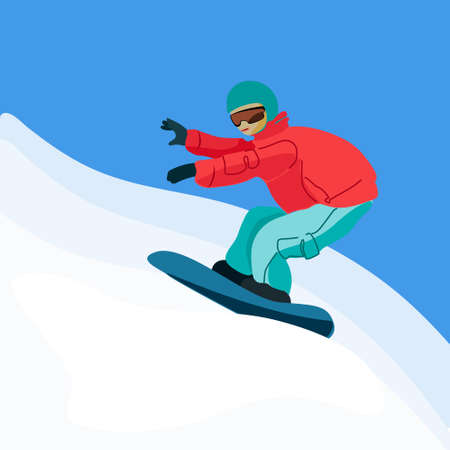Snowboarder sliding down the snowy mountain slope. Hand drawn vector illustration in flat style. Isolated design elements