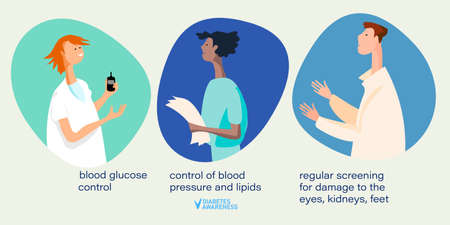Diabetes awareness and World Diabetes Day illustration. Well-managed diabetes concept. Hand drawn doctors with diabetes control recommendation