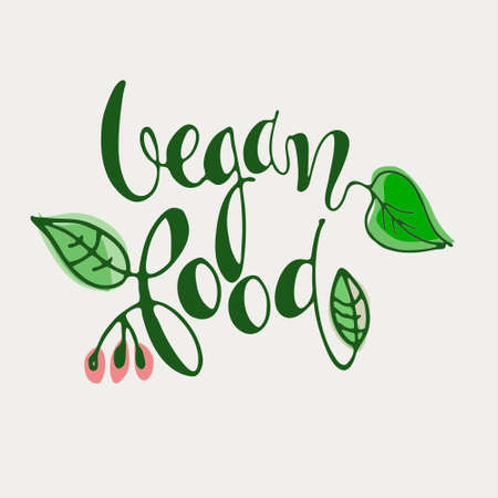 Vegan Food hand lettering decorated with leaves and flowers isolated on white background. Icon, logo, banner, label, mark