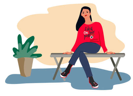 Young woman sitting on a bench vector illustration.