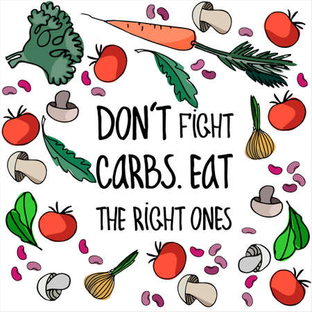Concept of low-carb diets like lchf or keto as well as an idea of balanced, common-sense based approach. Vektorové ilustrace