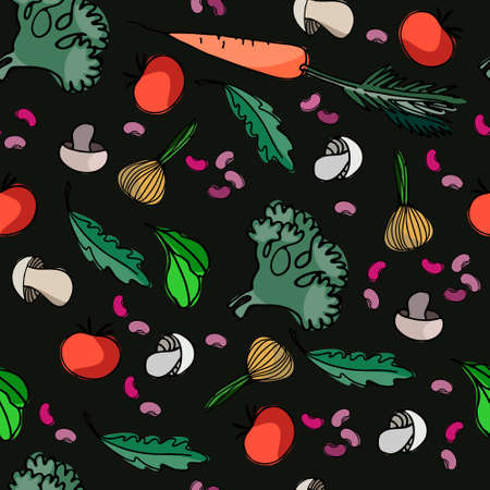 Seamless pattern with vegetables, mushrooms, beans and greens for surface design, posters, illustrations. Isolated elements on black background. Healthy foods theme Ilustracja