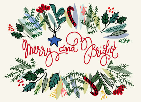Floral border frame with fir tree branches, holly and hand lettered greetins inside. Christmas baubles and ornaments on white background. Greeting card, flyer, invitation