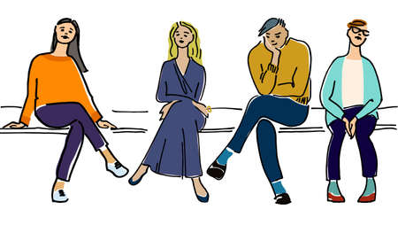 Young people sitting on a bench vector illustration. Audience concept. Waiting concept. On a lesson, conference, training course, in a line