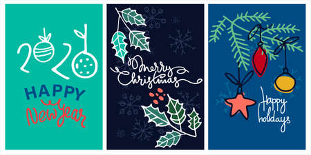 Set of Christmas and New Year vector greeting cards. Hand lettering, fir tree branches, holly, Christmas tree ornaments Vektorové ilustrace