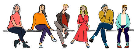 Young people sitting on a bench vector illustration.
