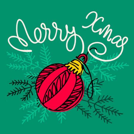 Merry Xmas greeting card. Hand lettering with a bauble and fir tree branches on green background Ilustrace