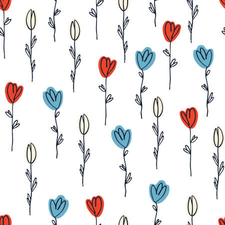 Seamless pattern with hand drawn flowers for surface design and other design projects. Multicolored tulips isolated on white background Ilustracja
