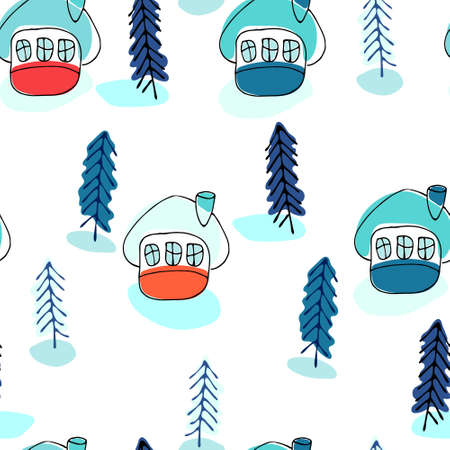 Seamless pattern with winter cottages and fir trees in the snow. Winter recreation concept Ilustracja