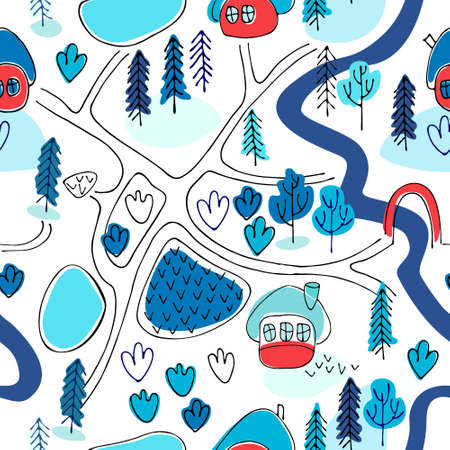 Seamless pattern. Countryside map in cartoon style. Winter landscape. Perfect for kids design projects