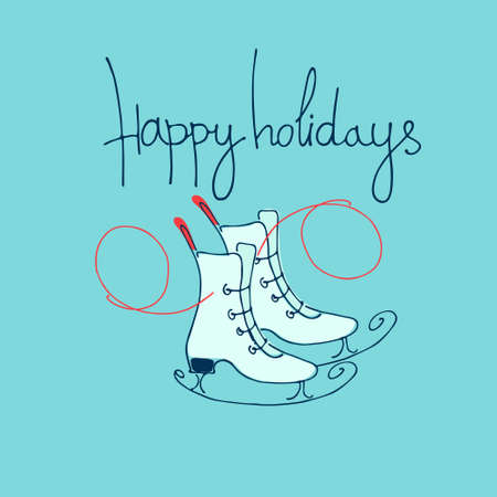 Happy holidays greeting lettering with ice skates. Winter holidays concept. Winter outdoor activity concept. Skating rink banner. Sporting goods store greeting card template