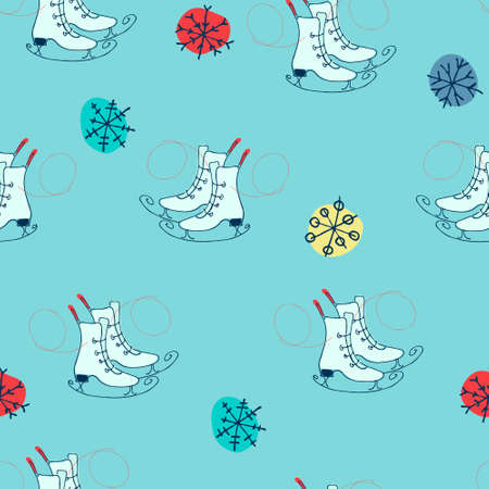 Seamless pattern with figure skates and snowflakes. Winter outdoor activity concept. Perfect design for skating rinks, sporting-goods stores, sports facilities