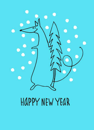 Happy New Year greeting card with rat, zodiac animal for 2020. Funny horoscope rat with new year tree, hand lettering, snowflakes on blue background