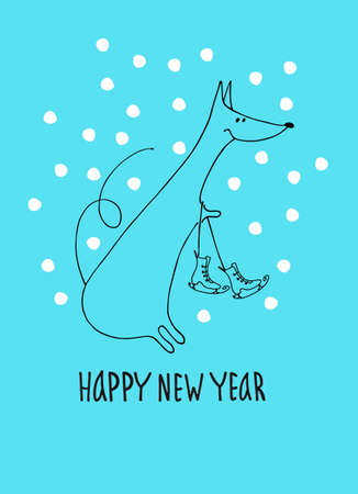 Happy New Year greeting card with rat, zodiac animal for 2020. Funny horoscope rat with ice skates, hand lettering, snowflakes on blue background