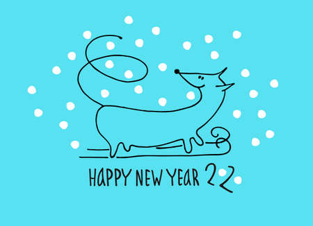 Happy New Year greeting card with rat, zodiac animal for 2020. Funny horoscope rat skiing, hand lettering, snowflakes on blue background