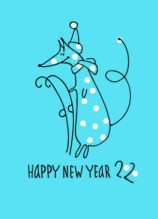 Happy New Year greeting card with rat, zodiac animal for 2020. Funny horoscope rat with retro skis, hand lettering, snowflakes on blue background Ilustracja