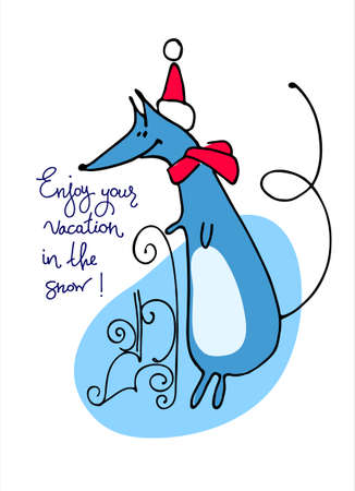 Winter holidays concept. Winter resort ad. Greeting card, banner. Cartoon-style rat, zodiac animal for 2020, with sleigh, in Santa outfit