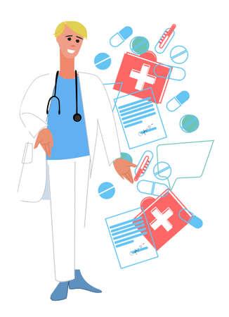Médico con estetoscopio y collage de medicamentos, recetas médicas y termómetros. Atención primaria, concepto terapéutico. Aislado sobre fondo blanco Ilustración de vector