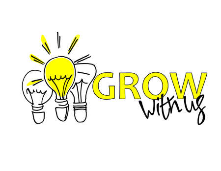 Grow with us. Recruitment, teambuilding and personal growth concept. Hand drawn bulbs, one of them is shining. Type and hand lettering on the right. Isolated on white background