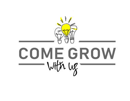 Come grow with us. Illustration and title for a recruitment ad. Recruitment, teambuilding and personal growth concept. Hand drawn bulbs, type and hand lettering. Isolated on white background