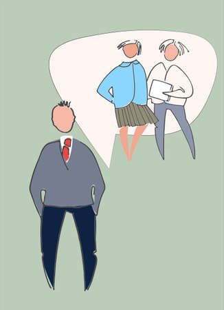 Business people chatting, thinking, having different opinions. People vector illustrations Ilustracja