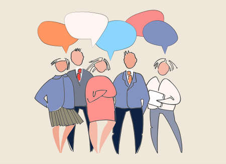 Business people presenting their ideas, chatting, thinking, having different opinions. People vector illustrations, speech bubbles with place for your text