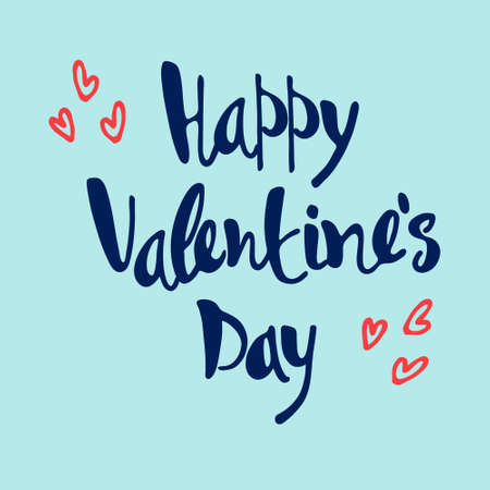 Happy Valentines Day greeting lettering decorated with hand drawn hearts on blue background