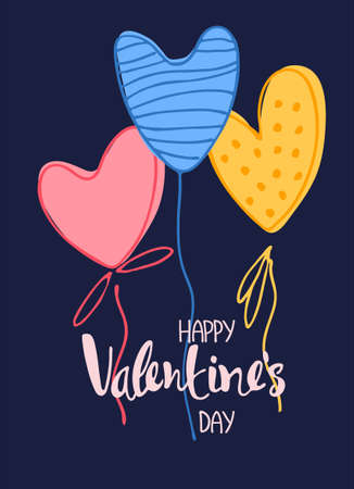 Happy Valentines Day greeting card. Hand lettering and colored heart-like baloons on dark blue background