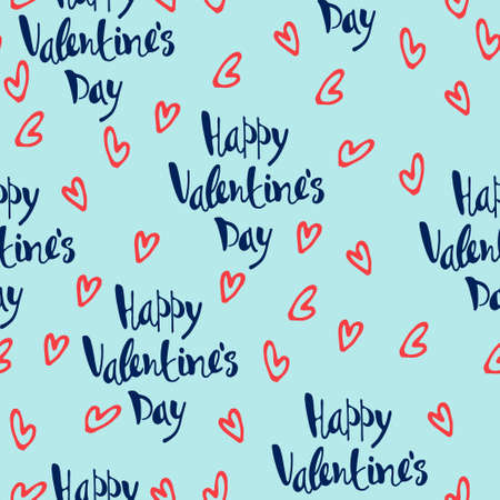 Seamless pattern on Happy Valentines Day theme. Hand-lettered greetings, pink hearts on blue background