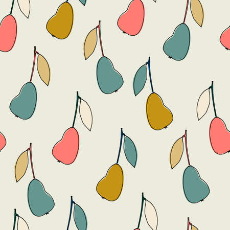 Seamless pattern with fantasy-style pears for surface design, posters, illustrations. Isolated elements on light-coloured background. Healthy foods, veganism theme