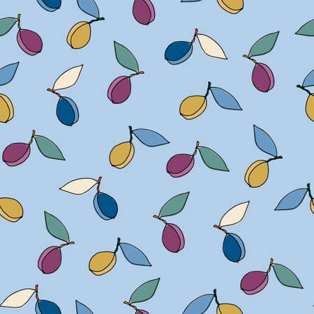 Seamless pattern with plums for surface design, posters, illustrations. Isolated elements on light-coloured background. Healthy foods, veganism theme