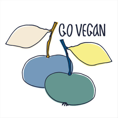Hand drawn vector illustration for veganism popularization, vegan restaurants and farm markets promotion. Isolated design element