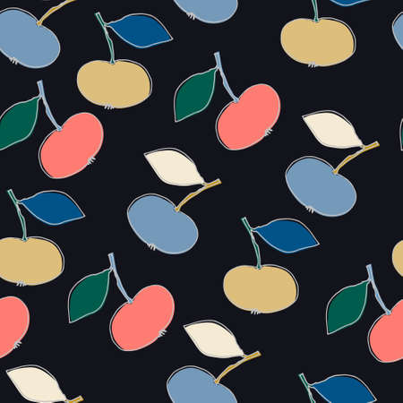 Seamless pattern with fantasy-style apples for surface design, posters, illustrations. Isolated elements on black background. Healthy foods, veganism theme