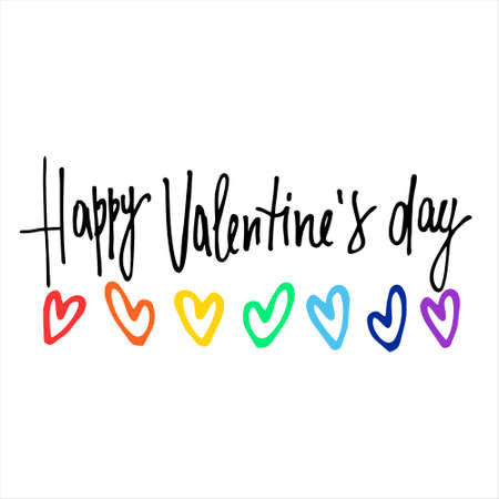 Happy Valentines Day greeting lettering with rainbow-colored hearts. Isolated on white