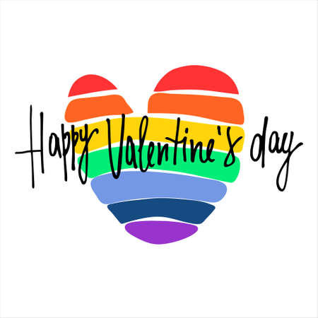 Happy Valentines Day greeting lettering with rainbow-colored heart in the back. Isolated on white
