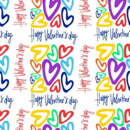 Seamless pattern on Valentines Day theme. Rectangular-shaped clusters of rainbow-colored hearts, hand-lettered greeting phrases
