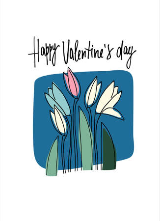 Happy Valentines Day greeting card with February fair-maid flowers on blue background