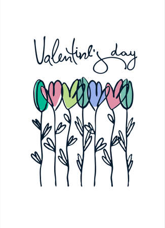 Happy Valentines Day greeting card with hand drawn flowers. Isolated on white Ilustracja