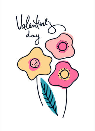Happy Valentines Day greeting card with hand drawn abstract flowers. Isolated on white