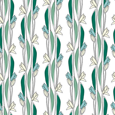 Seamless pattern with hand drawn snowdrop flowers on white background for surface design and other design projects