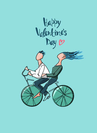 Valentines Day greeting card. Loving couple taking a ride on a bicycle illustration and hand-lettered greetings. Moving through life together concept. Isolated on blue background