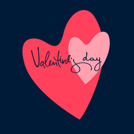 Valentines Day greeting card. Two hearts and hand-lettering. Isolated on dark blue background Ilustracja