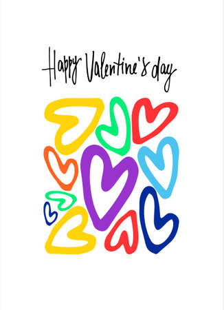 Happy Valentines Day greeting card. Hand lettering with rectangular-shaped cluster of rainbow-colored hearts. Isolated on white