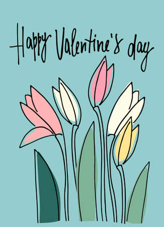 Happy Valentines Day greeting card with February fair-maid flowers. Isolated on blue