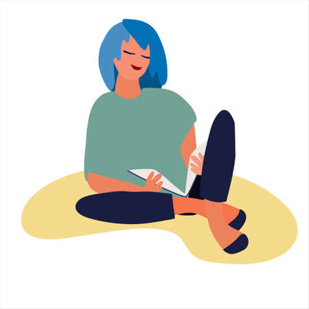 Blue-haired girl reading a book vector illustration. Flat style, isolated design element