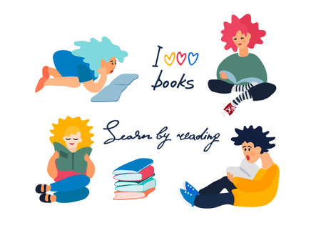 Children reading books. Set of vector illustration in flat style. Motivational handwritten slogans. Reading motivation concept Ilustracja
