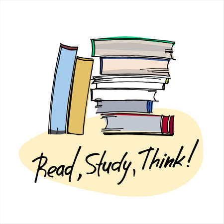 Reading motivation concept. Education concept. Hand drawn pile of books isolated on neutral background with motivational slogan Ilustracja