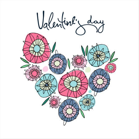 Valentines Day greeting card design. Heart composed of multicolored hippyish abstract flowers. Hand-lettered greeting phrase. Isolated on white